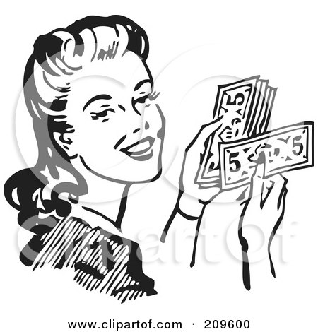 Royalty-Free (RF) Clipart Illustration of a Retro Black And White Woman Holding Cash by BestVector
