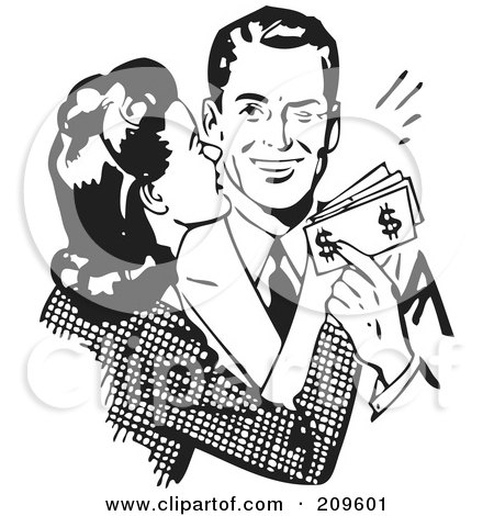 Royalty-Free (RF) Clipart Illustration of a Retro Black And White Woman Kissing Her Husband On The Cheek As He Hands Her Money by BestVector