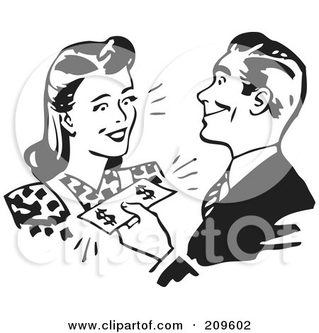 Royalty-Free (RF) Clipart Illustration of a Retro Black And White Man Handing Cash To A Woman by BestVector