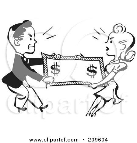 Royalty-Free (RF) Clipart Illustration of a Retro Black And White Man And Woman Fighting Over Money by BestVector