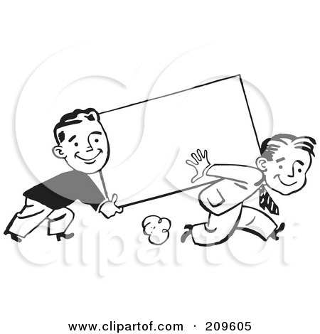 Royalty-Free (RF) Clipart Illustration of Two Retro Black And White Businessmen Carrying A Blank Sign by BestVector