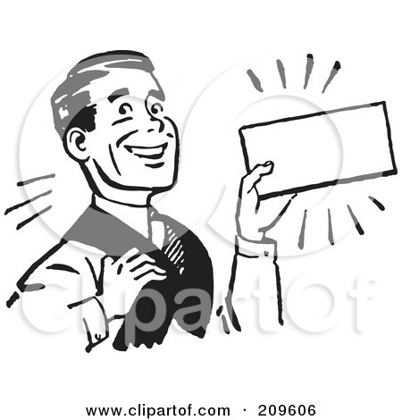Royalty-Free (RF) Clipart Illustration of a Retro Black And White Businessman Presenting A Blank Sign by BestVector
