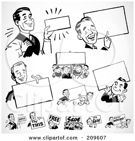 Royalty-Free (RF) Clipart Illustration of a Digital Collage Of Retro Black And White Businessmen With Blank Signs by BestVector