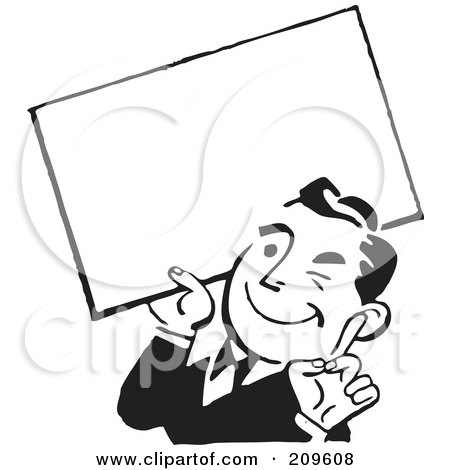 Royalty-Free (RF) Clipart Illustration of a Retro Black And White Businessman Winking And Holding A Blank Sign by BestVector