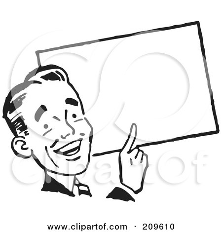 Royalty-Free (RF) Clipart Illustration of a Retro Black And White Businessman Pointing To A Blank Sign by BestVector