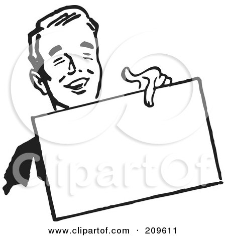 Royalty-Free (RF) Clipart Illustration of a Retro Black And White Businessman Holding Out A Blank Sign by BestVector