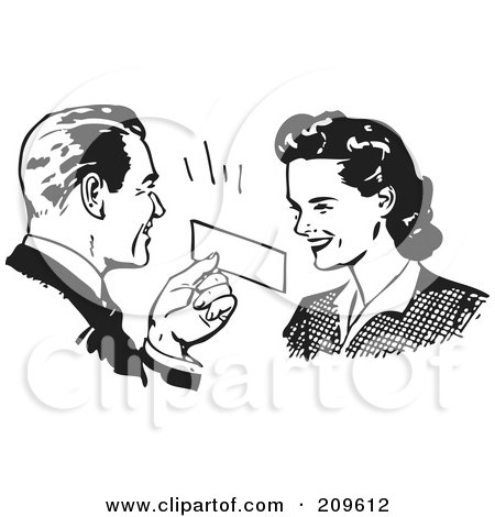Royalty-Free (RF) Clipart Illustration of a Retro Black And White Man Presenting A Coupon To A Woman by BestVector