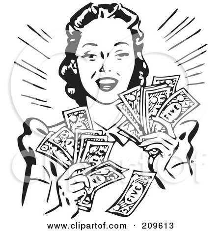 Royalty-Free (RF) Clipart Illustration of a Retro Black And White Woman Holding Handfulls Of Cash by BestVector