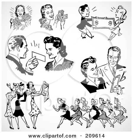 Royalty-Free (RF) Clipart Illustration of a Digital Collage Of Retro Black And White Men And Women Shopping by BestVector