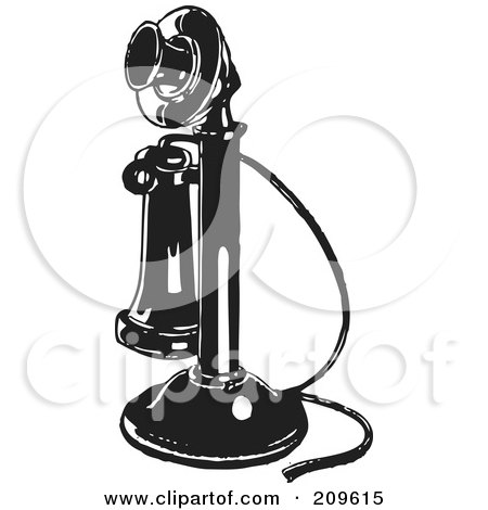 Royalty-Free (RF) Clipart Illustration of a Retro Black And White Candlestick Phone by BestVector