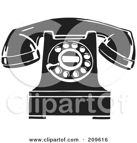 Royalty-Free (RF) Clipart Illustration of a Retro Black And White Desktop Telephone by BestVector