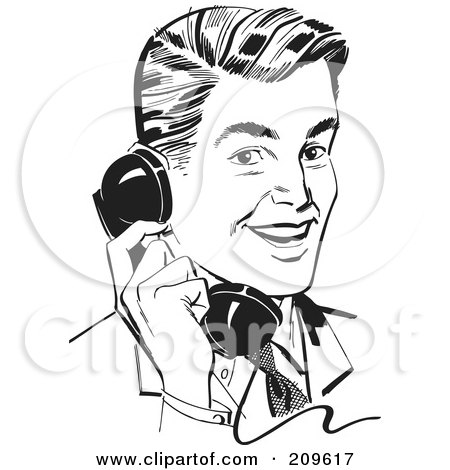 Royalty-Free (RF) Clipart Illustration of a Retro Black And White Retro Businessman Chatting On A Phone by BestVector