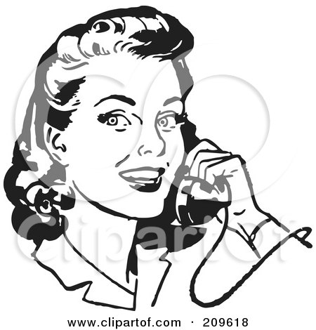 Royalty-Free (RF) Clipart Illustration of a Retro Black And White Retro Woman Smiling And Chatting On A Phone by BestVector