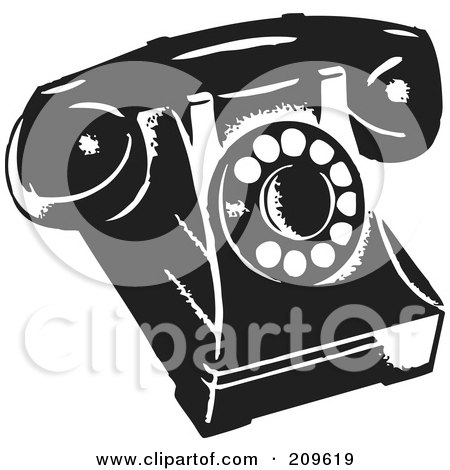 Royalty-Free (RF) Clipart Illustration of a Retro Black And White Desk Phone by BestVector
