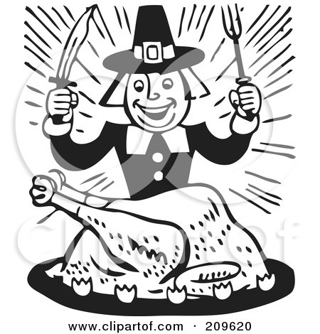 Royalty-Free (RF) Clipart Illustration of a Retro Black And White Hungry Pilgrim Eating Turkey by BestVector