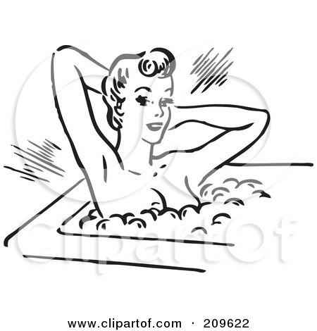 Royalty-Free (RF) Clipart Illustration of a Retro Black And White Woman Relaxing In A Bubble Bath by BestVector
