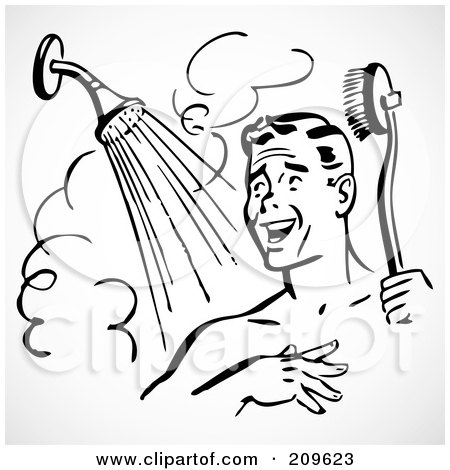 Royalty-Free (RF) Clipart Illustration of a Retro Black And White Man Singing And Scrubbing Up In A Shower by BestVector
