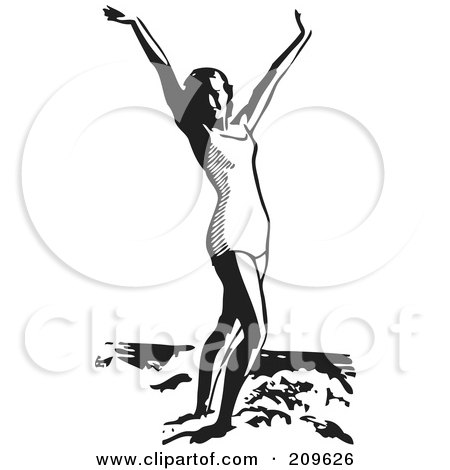 Royalty-Free (RF) Clipart Illustration of a Retro Black And White Woman Standing In The Ocean Surf With Her Arms Up by BestVector