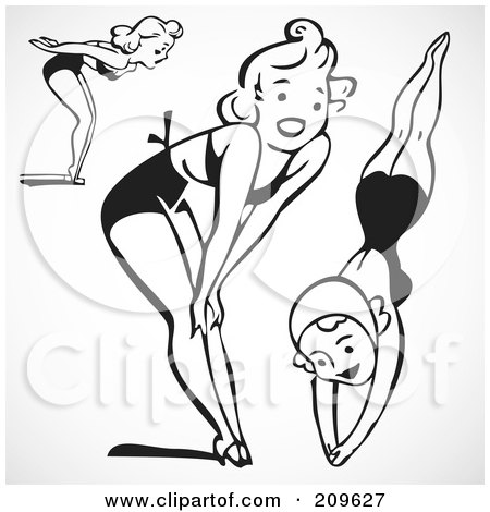 Royalty-Free (RF) Clipart Illustration of a Digital Collage Of Retro Black And White Women In Bathing Suits by BestVector