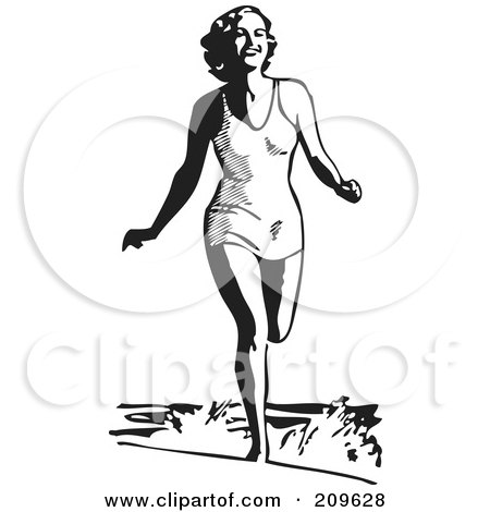 Royalty-Free (RF) Clipart Illustration of a Retro Black And White Woman Running In The Ocean Surf At The Beach by BestVector