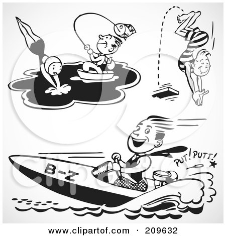 Royalty-Free (RF) Clipart Illustration of a Digital Collage Of Retro Black And White Men And A Woman Swimming, Fishing And Boating by BestVector