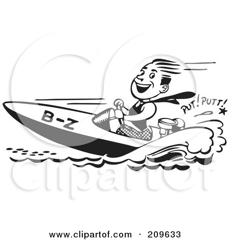 Royalty-Free (RF) Clipart Illustration of a Retro Black And White Man Driving A Speed Boat by BestVector