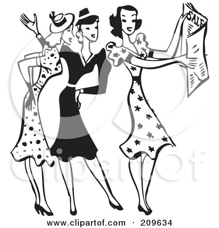Royalty-Free (RF) Clipart Illustration of a Retro Black And White Group Of Women Discussing Sale Ads by BestVector