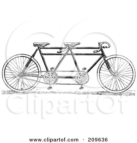 Royalty-Free (RF) Clipart Illustration of a Retro Black And White Tandem Bicycle by BestVector