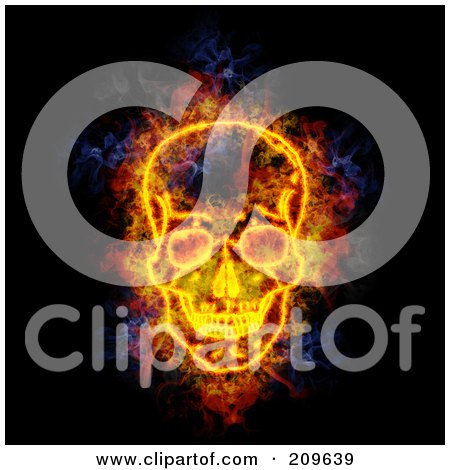 Royalty-Free (RF) Clipart Illustration of a Blazing Skull by Michael Schmeling