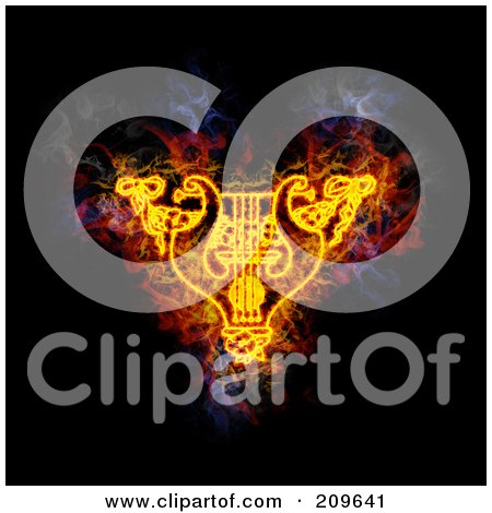 Royalty-Free (RF) Clipart Illustration of a Blazing Lyre And Garland by Michael Schmeling