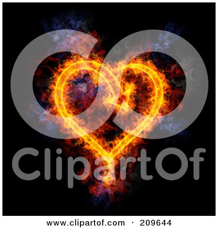 Royalty-Free (RF) Clipart Illustration of a Blazing Arrow Heart by Michael Schmeling