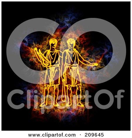 Royalty-Free (RF) Clipart Illustration of a Blazing Gemini Zodiac Symbol by Michael Schmeling