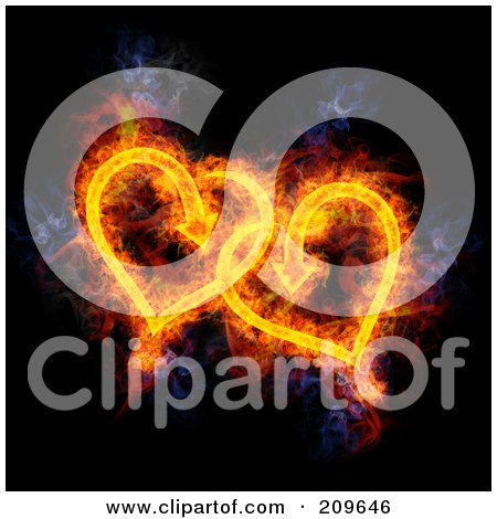 Royalty-Free (RF) Clipart Illustration of a Blazing Pair of Hearts by Michael Schmeling