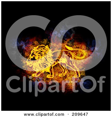 Royalty-Free (RF) Clipart Illustration of a Blazing Leo Zodiac Symbol by Michael Schmeling