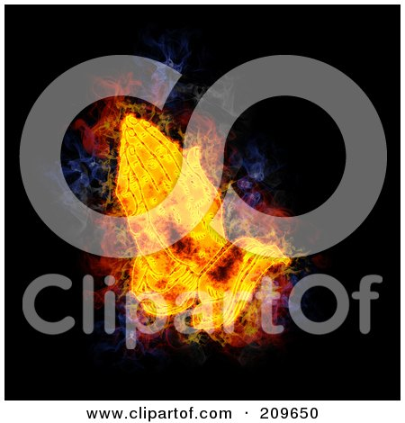 Royalty-Free (RF) Clipart Illustration of a Blazing Praying Hands by Michael Schmeling