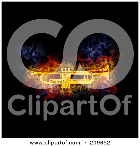 Royalty-Free (RF) Clipart Illustration of a Blazing Cornet by Michael Schmeling