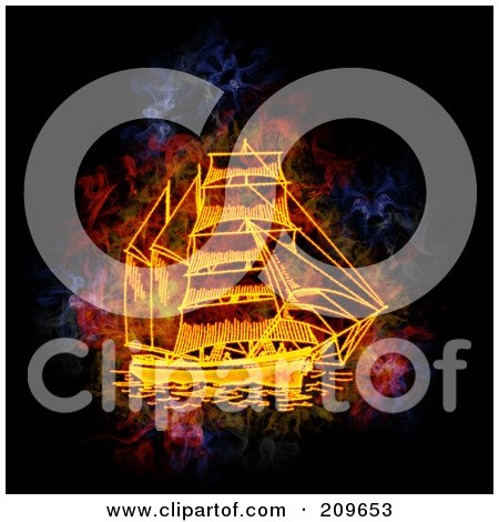 Royalty-Free (RF) Clipart Illustration of a Blazing Ship by Michael Schmeling