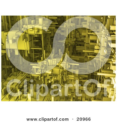 Futuristic Yellow Cubic Mechanical Background Posters, Art Prints