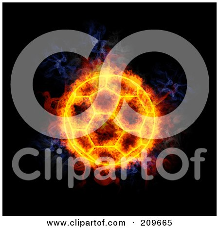 Royalty-Free (RF) Clipart Illustration of a Blazing Soccer Ball by Michael Schmeling