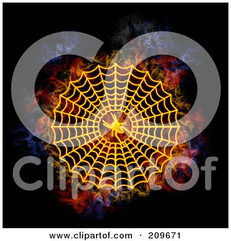 Royalty-Free (RF) Clipart Illustration of a Blazing Spider Web by Michael Schmeling