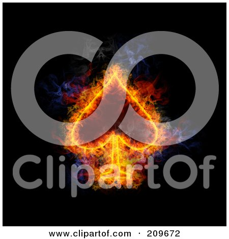 Royalty-Free (RF) Clipart Illustration of a Blazing Spade Playing Card Suit Symbol by Michael Schmeling