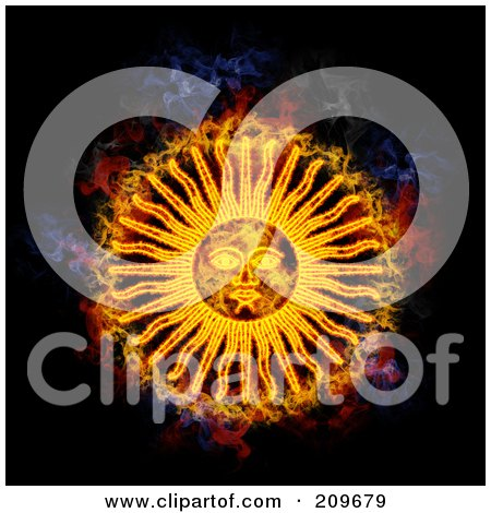 Royalty-Free (RF) Clipart Illustration of a Blazing Sun Face by Michael Schmeling