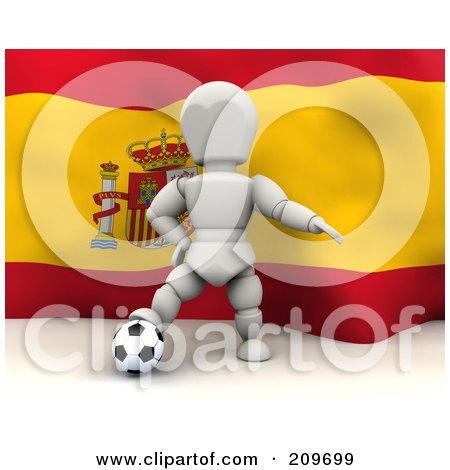 Royalty-Free (RF) Clipart Illustration of a 3d White Character Resting His Foot On A Soccer Ball In Front Of A Spanish Flag by KJ Pargeter