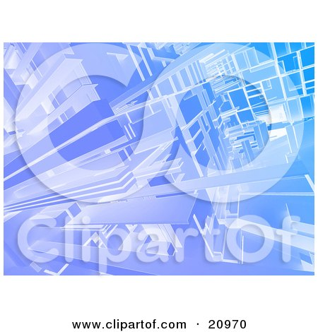 Futuristic Background Of Blue Cubic Beams Posters, Art Prints
