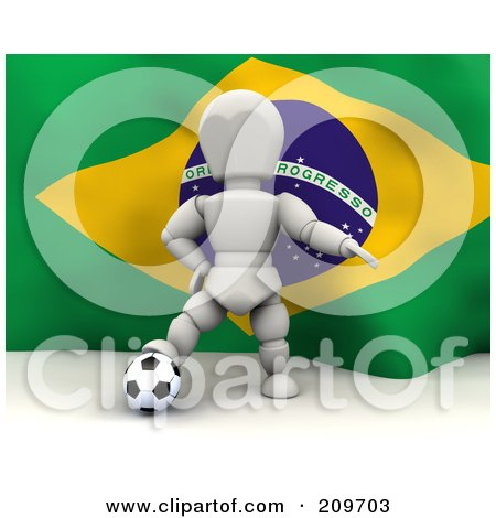 Royalty-Free (RF) Clipart Illustration of a 3d White Character Resting His Foot On A Soccer Ball In Front Of A Brazilian Flag by KJ Pargeter