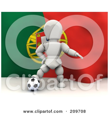 Royalty-Free (RF) Clipart Illustration of a 3d White Character Resting His Foot On A Soccer Ball In Front Of A Portugal Flag by KJ Pargeter