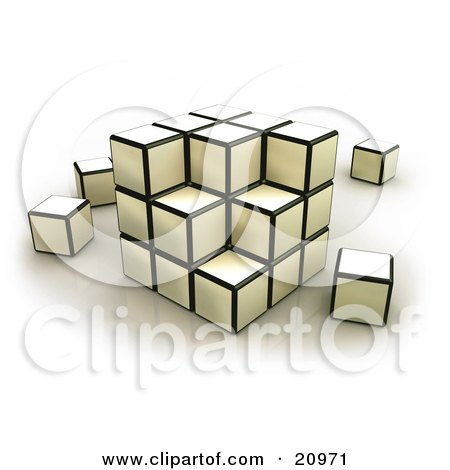 Clipart Illustration of a Strategic Puzzle Cube With Pieces Scattered by 3poD