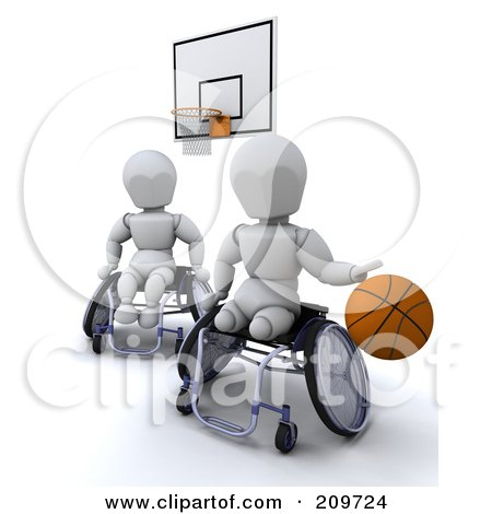 3d White Characters In Wheelchairs, Playing Basketball Posters, Art Prints