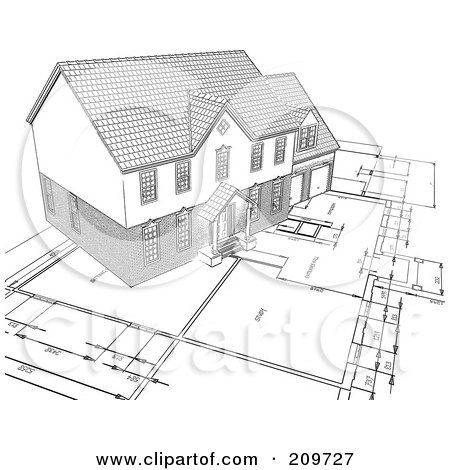Royalty-Free (RF) Clipart Illustration of a Pencil Sketch Of A Home On Blueprints by KJ Pargeter