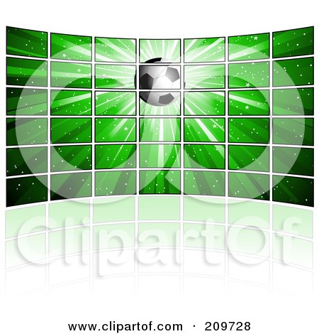 Royalty-Free (RF) Clipart Illustration of a Wall Of Tv Screens Displaying A Soccer Ball On A Green Burst by KJ Pargeter